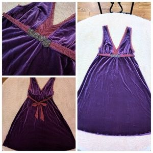 NWT Free People Purple Velvet sleeveless dress L